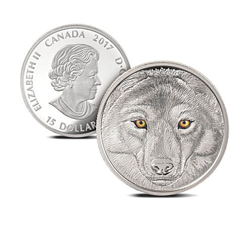 In The Eyes of The Wolf solid silver coin with state-of-the-art minting technology