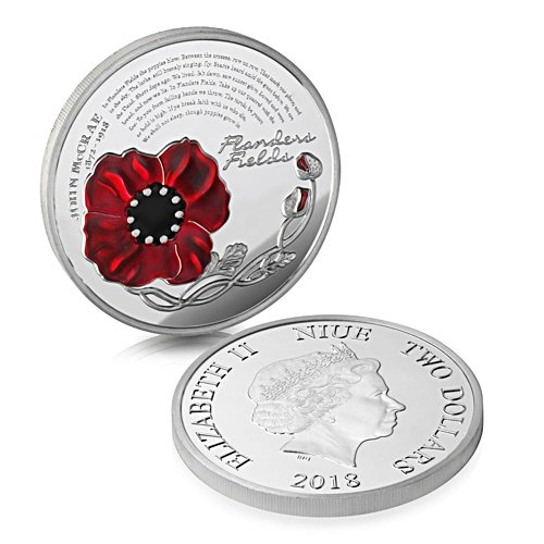 In Flanders Fields - The Red Poppy Five Crown Coin - Just 499 issued