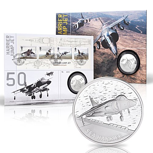 The Harrier Jump Jet 50th Anniversary  Solid Silver Philatelic Numismatic Cover