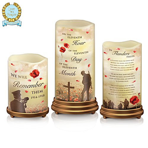 'Lest We Forget' First World War Armistice Centenary LED Flameless Candles