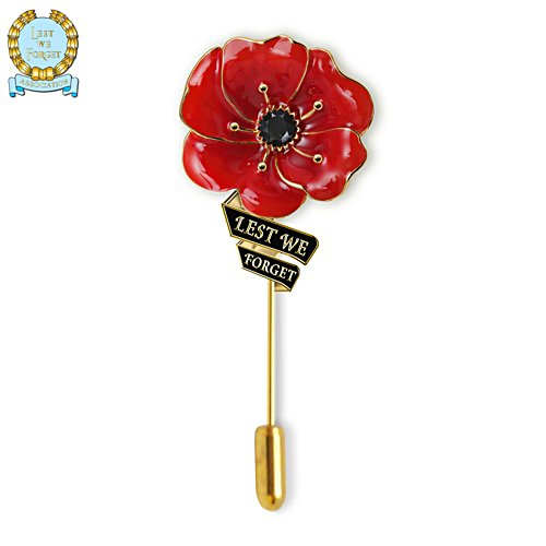 'Lest We Forget' Flanders Fields Men's Poppy Lapel Pin