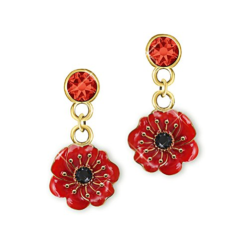 'Lest We Forget' Poppy Drop Earrings