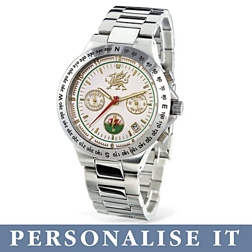 'Forever Wales' Gold-Plated Personalised Men's Chronograph