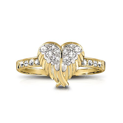 'Guardian Angel Embrace' Swarovski® Ring