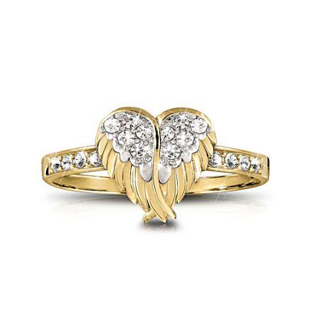 'Guardian Angel Embrace' Swarovski® Ring