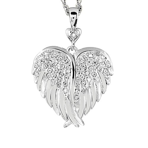 'Guardian Angel Embrace' Rhodium-Plated Diamond Locket
