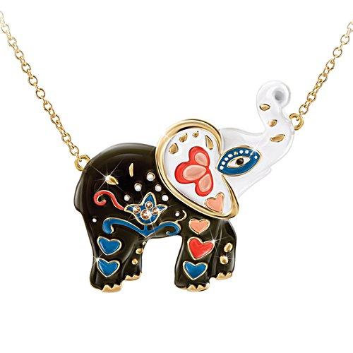 'Fortune's Smile' Sugar Skull Elephant Pendant