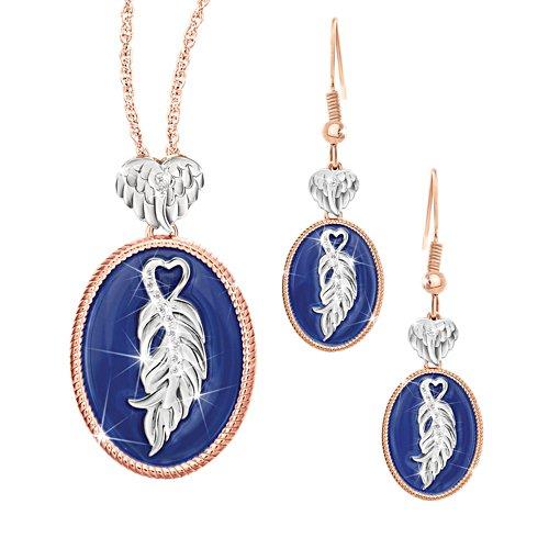 'Guardian Angel' Copper Touch Pendant & Earrings