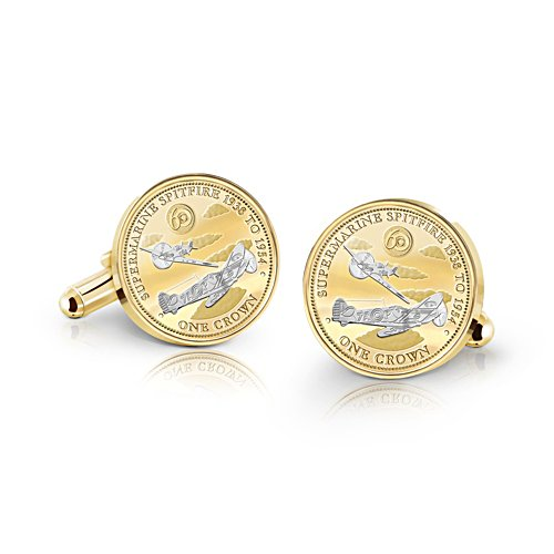 'Supermarine Spitfire' Golden Crown Cufflinks