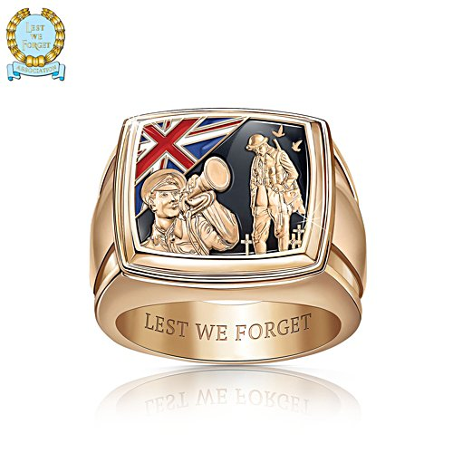 First World War 'Lest We Forget' Gold-Plated Men's Ring
