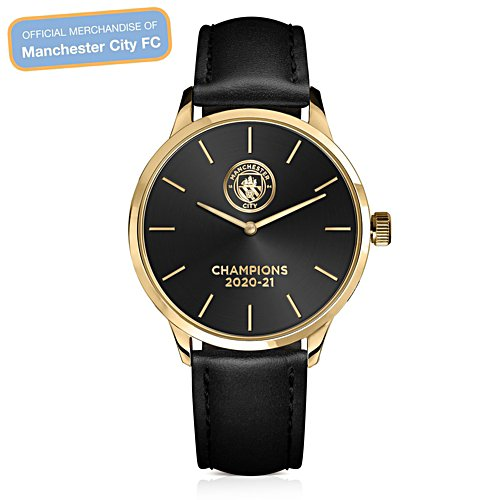 Manchester City 2020-21 Champions Leather Watch
