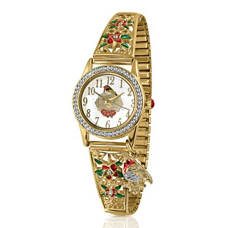 'Jewels Of Nature' Robin Gold-Plated Stretch Watch