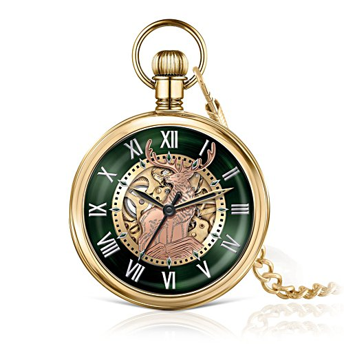 'Spirit Of The Wild' Stag Gold-Plated Pocket Watch