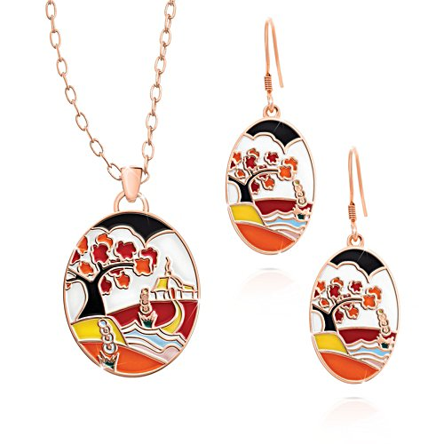 Clarice Cliff-Inspired Copper Touch Pendant & Earring Set