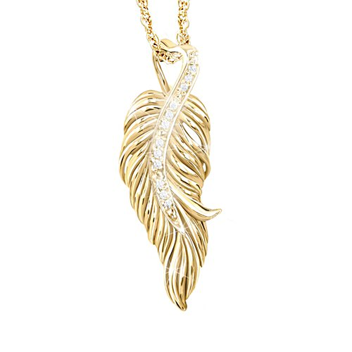 'When Angels Are Near' Ladies' Diamond Gold-Plated Pendant