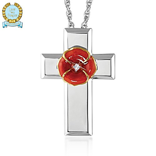 'In Flanders Fields' Poppy Cross Pendant