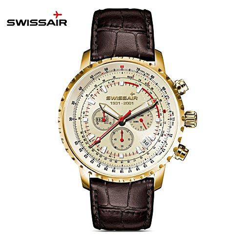 'Swissair Spirit' Men's Leather Strap Chronograph Watch
