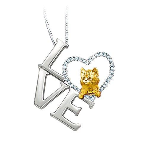 'I Love My Cat' Swarovski® Crystal Pendant