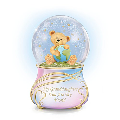 'Granddaughter, You Are My World' Musical Glitter Globe