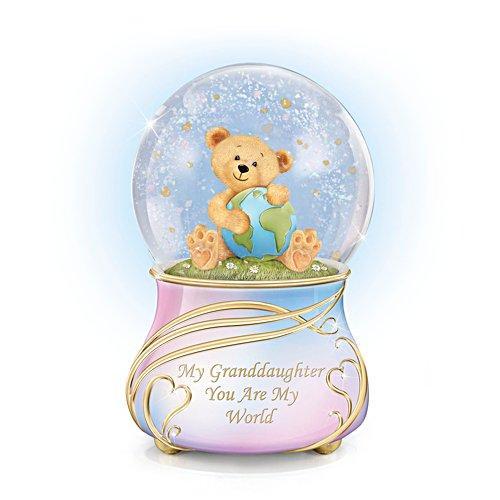 'Granddaughter, You Are My World' Musical Glitter Globe