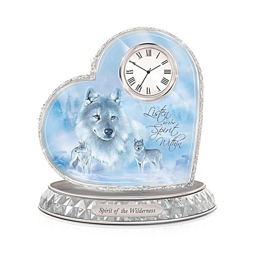 'Spirit Of The Wilderness' Wolf Glass Art Clock
