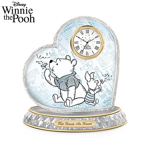 Disney Winnie The Pooh 'True Friends Are Forever' Glass Art Clock