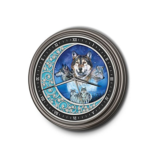 'Spirit Of The Wolf' Glow-In-The-Dark Wall Clock