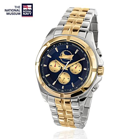 The National Museum Of The Royal Navy Men's Gold-Plated Chronograph