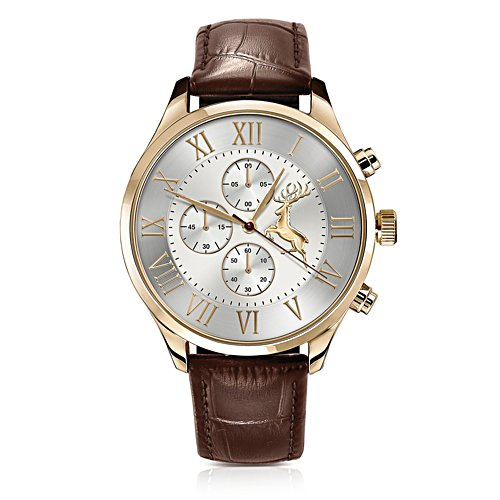 'Let Your Spirit Be Free' Stag Gold-Plated Chronograph Watch