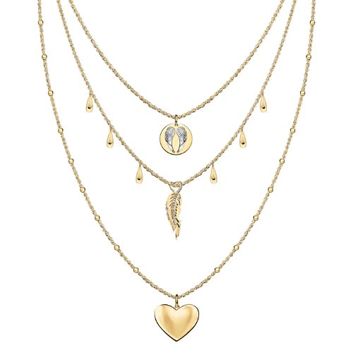 'Guardian Angel Embrace' Layered Gold-Plated Trio Necklace Set