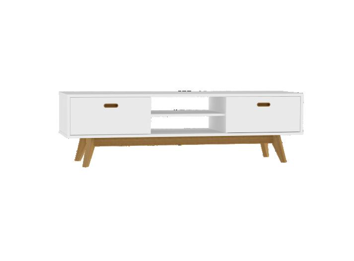 Meuble tv 2 tiroirs 2 niches blanc chene fly - Meuble tv fly serie ...