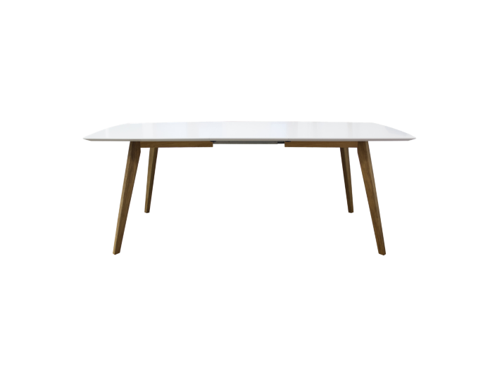 Table Rectangulaire Allonges Blanc Chene Fly