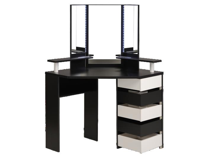 Coiffeuse 5 tiroirs blanc noir fly for Coiffeuse meuble noir