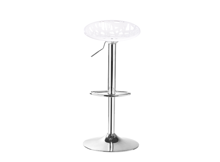 Tabouret de bar assise blanche pieds chrome fly - Tabouret bar transparent fly ...
