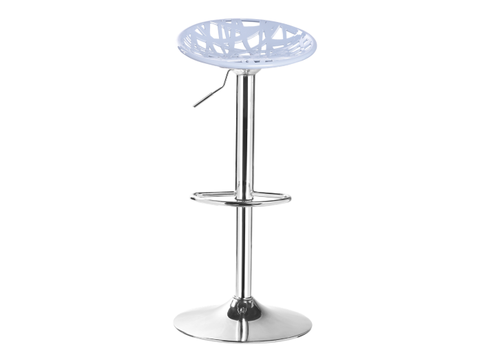 Tabouret de bar assise grise pieds chrome fly - Tabouret bar transparent fly ...