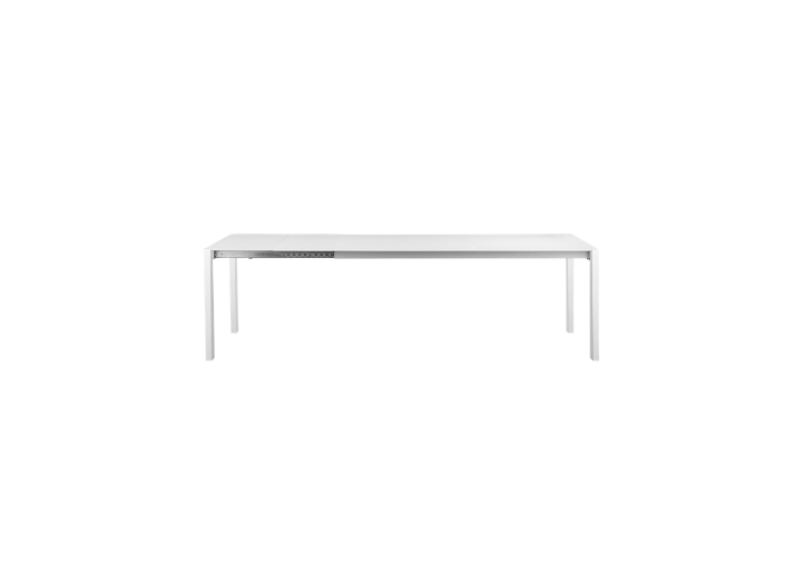 Table extensible l160 a 240 cm acier blanc table table for Meuble acier fly