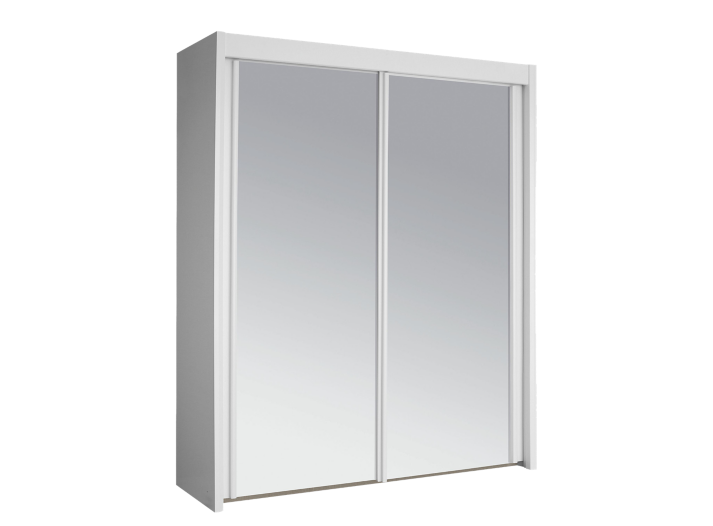Armoire 2 portes coulissantes l150 blanc miroir fly for Armoire chambre fly