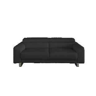 FLY-canape fixe 3 places cuir noir/fil noir
