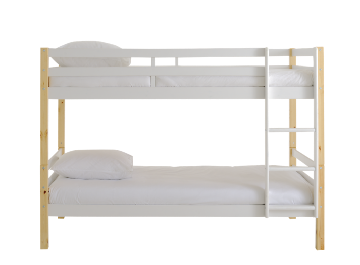 lit superpose 90x190 cm pin blanc pieds naturel fly. Black Bedroom Furniture Sets. Home Design Ideas