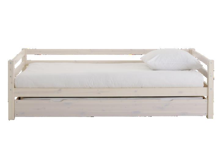 lit gigogne 90x190 cm pin vernis blanchi fly. Black Bedroom Furniture Sets. Home Design Ideas