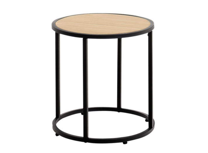 table basse ronde h40 noir et pin fly. Black Bedroom Furniture Sets. Home Design Ideas