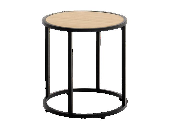 table basse ronde h40 noir et pin fly. Black Bedroom Furniture Sets. Home Design Ideas