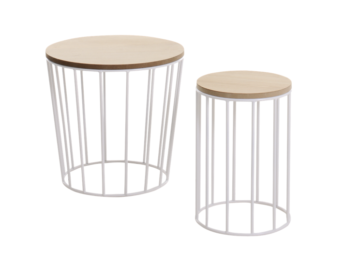 Set de 2 tables basses blanches fly - Table blanche fly ...
