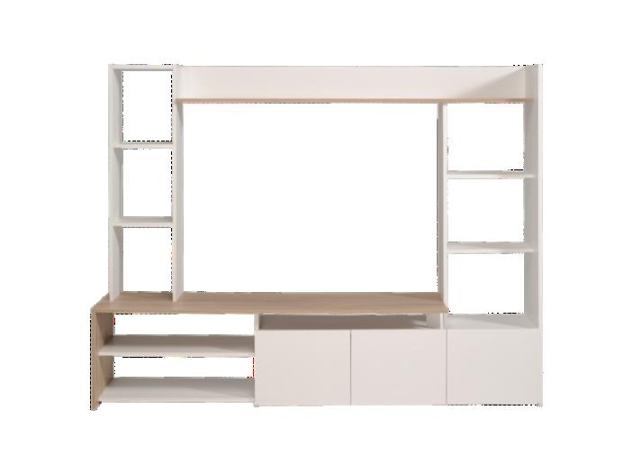 living tv chene blanc fly. Black Bedroom Furniture Sets. Home Design Ideas