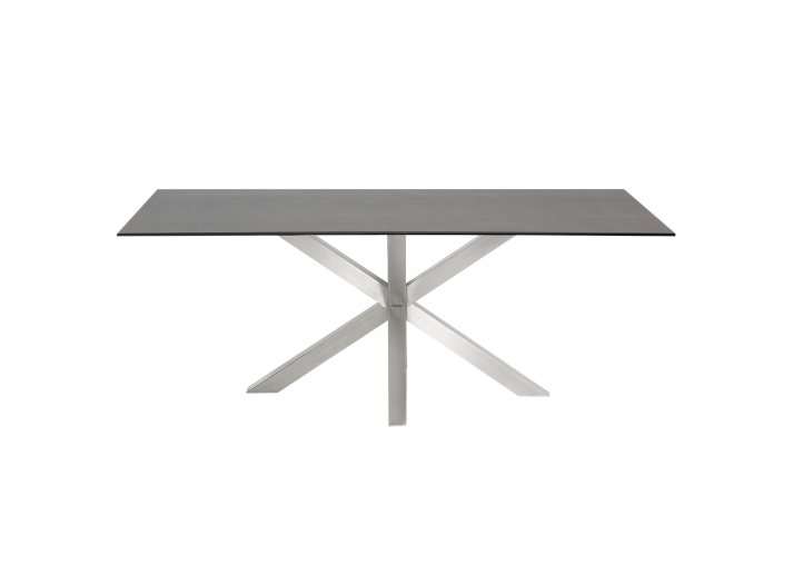 Table rectangulaire gris acier l200 table table for Meuble acier fly