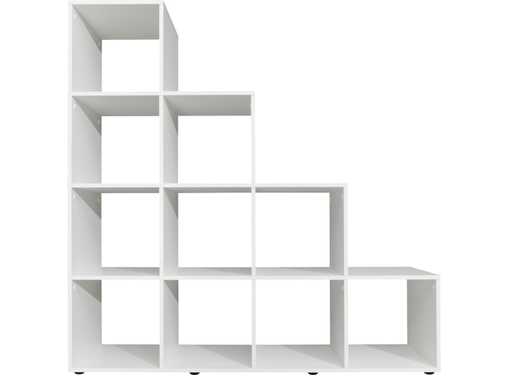 etagere escalier 10 cases blanc meuble fly. Black Bedroom Furniture Sets. Home Design Ideas