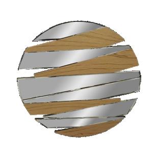 FLY-miroir d80cm destructure miroir/bois