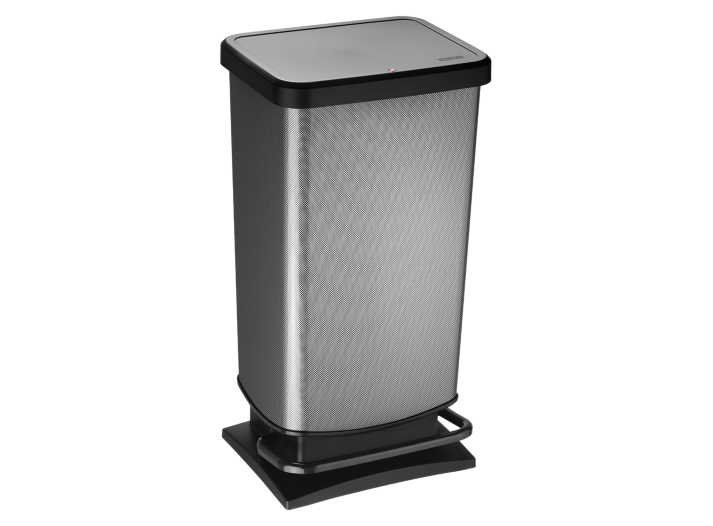 Poubelle pedale 40l aspect carbone poubelle de cuisine for Accessoire poubelle cuisine