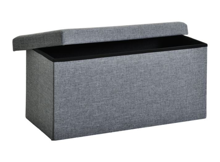 pouf de rangement 76x40 gris fly. Black Bedroom Furniture Sets. Home Design Ideas