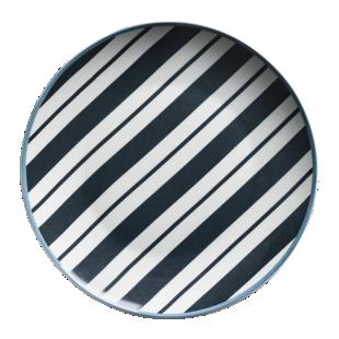 FLY-assiette plate d26,5cm en porcelaine rayures